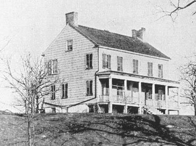 "John Peter DeLancey's home was relocated from the top of Heathcote Hill, as shown here, to the Boston Post Road. It now houses ""Down by the Bay"" Restaurant."