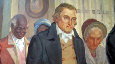 "John Peter Delancey, with his wife and two of his slaves. From the mural ""The Marriage of James Fenimore Cooper to Susan DeLancey, 1811"" painted in 1937 by Warren Chase Merritt for the Mamaroneck Public Library."