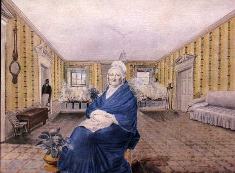 Elizabeth Fenimore Cooper, in a 1816 watercolor by George Freeman, with Joseph Stewart in the background