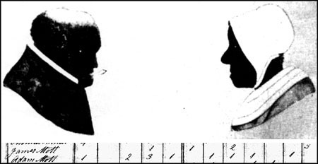 """""""Banjo Billy"""" and """"Ginny,"""" and the notations in the Census of 1810 indicating that James Mott owned three slaves - the """"3"""" on the right of the table. These images, from Adam and Anne Mott by Thomas Cornell, may be the only surviving images of slaves in Larchmont."""