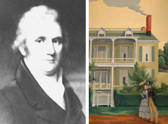 Peter Jay Munro kept at least 3 slaves at the Larchmont Manor House he built around 1797. Image of the house from a mural in Larchmont's Library.